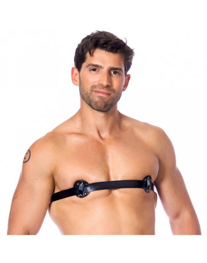 PleasureAndFun - Heren nipple harnas met spijkers naar binnen