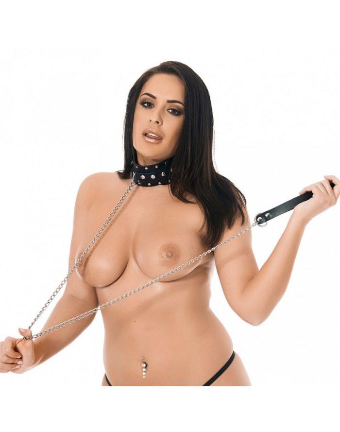 PleasureAndFun - Halsband met studs en hondenketting