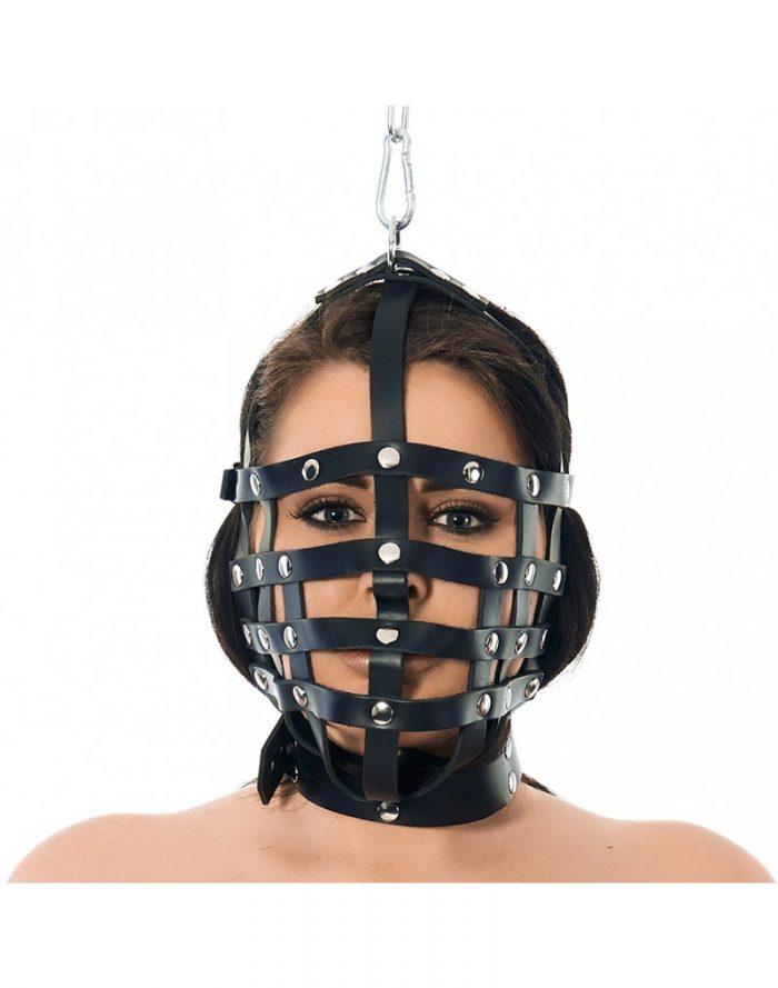 PleasureAndFun - Riemen masker met ophangring aan bovenzijde