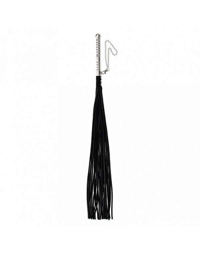 PleasureAndFun - Zweep met aluminium handvat en suède lederen strengen (lang)