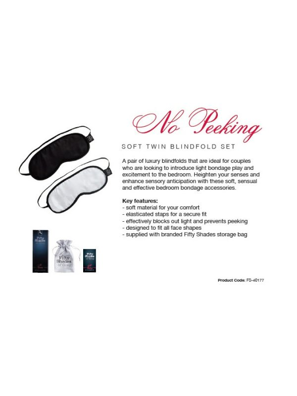No Peeking – FSoG Soft Blindfold Twin Pack