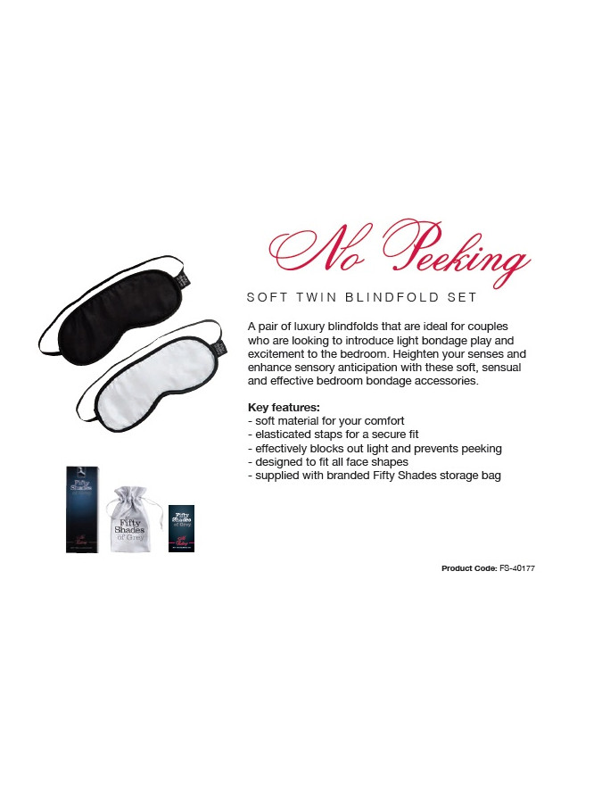 No Peeking - FSoG Soft Blindfold Twin Pack