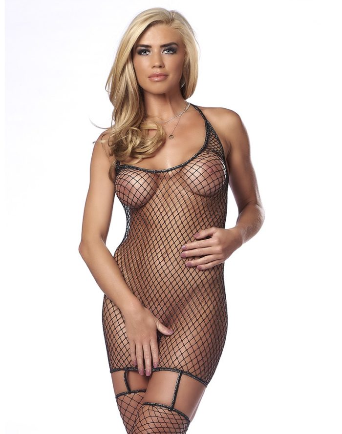 PleasureAndFun - Fishnet Dress with attached Stockings